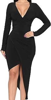 Women's Sexy Wrap Elagant V Neck Long Sleeve Party Asymmetrical Ruched Maxi Dress