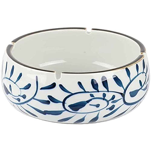 YQWYS Cenicero de cerámica pintado a mano de estilo japonés para sala de estar, mesa de centro creativa para oficina, cenicero retro con personalidad elegante, azul