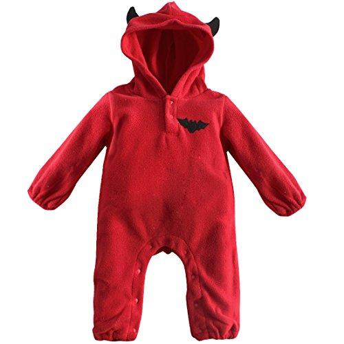 FEESHOW Baby Strampler Kapuze Kostüm Schneeanzug Kürbis/Fledermaus Muster mit Öhrchen Langarm Warm für Halloween Party Geburtstag Rot 6-9 Monate