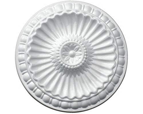 2 Stück Deckenrosetten HPS07, weiß, Ø 28 cm, aus Styropor, Stuck, Wandrosette