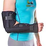 BraceAbility Elbow Immobilizer Brace | Removable Long Arm Cast and Soft Forearm Orthosis Splint for Broken Supracondylar, Distal Humerus, Proximal Ulna Fracture or Olecranon Bursitis (S/M)
