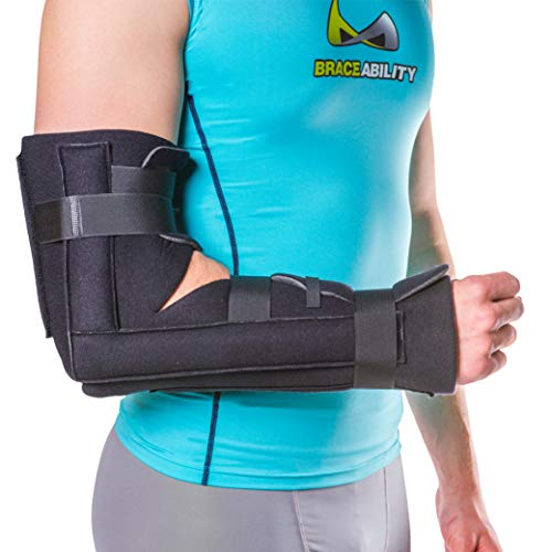 BraceAbility Elbow Immobilizer Brace | Removable Long Arm Cast and Soft Forearm Orthosis Splint for Broken Supracondylar, Distal Humerus, Proximal Ulna Fracture or Olecranon Bursitis (S/M)