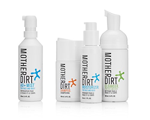 Mother Dirt 4 Product Natural Skin Care Bundle - AO+ Mist, Cleanser, Shampoo, Moisturizer, Biome-Friendly