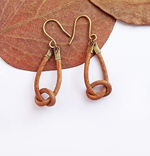 Leather knot earrings - Leather hoop earrings Knot earrings Celtic knot earrings
