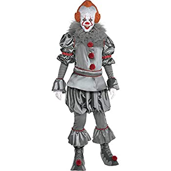 Party City Tattered Pennywise Halloween Costume for Adults IT Chapter 2 Standard Includes Jumpsuit Mask Collar