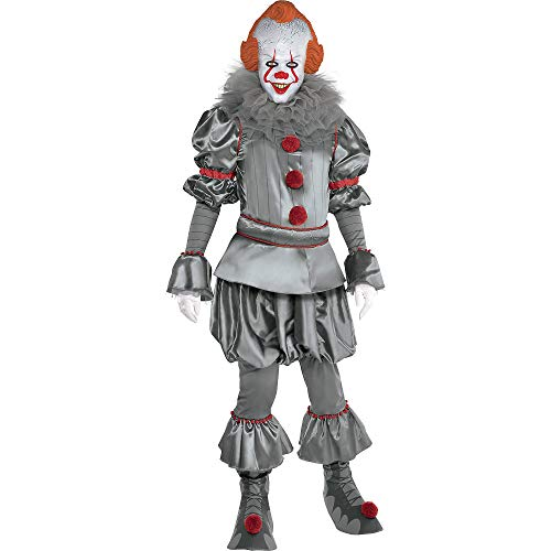 Party City Tattered Pennywise Halloween Costume for Adults, IT Chapter 2, Extra Small, Includes Jumpsuit, Mask, Collar