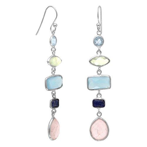 Pendientes de plata de ley con alambre francés, multiforma, topacio azul, prehnita, calcedonia, lapislázuli y cuarzo rosa, regalo para mujer