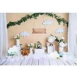 Fondo de fotografía con plantas verdes, teléfono, globo de nube, baby shower, cumpleaños, niños, fotófono, estudio de fotos de 20 x 15 cm