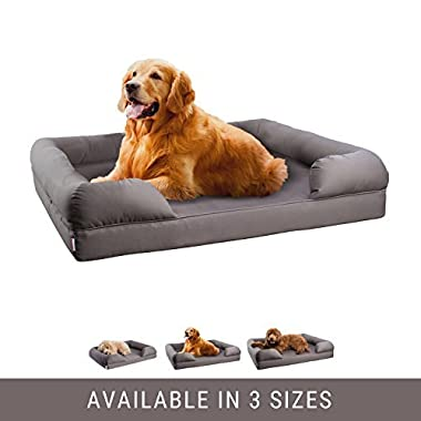 Petlo Orthopedic Pet Sofa Bed - Dog, Cat or Puppy Memory Foam Mattress Comfortable Couch For Pets With Removable Washable Cover (Large - 36  x 28  x 9 , Grey)