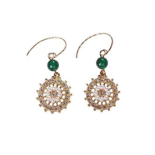 FENICAL Pendientes de perlas pendientes de ganchillo retro pendientes de oreja accesorio de oreja para mujer niña regalo de navidad