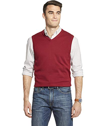 IZOD Men's Premium Essentials Solid V-Neck 12 Gauge Sweater Vest, BIKING RED, Small