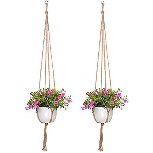 AIUIN Makramee Blumenampel Hängeampel mit Perlen, 2er Set Pflanzenhänger 4 Beine Pflanzen Halter 41 Zoll Aufhänger aus Jute für den Innen Außen hängender Blumentopf Übertopf Korb Handgemacht