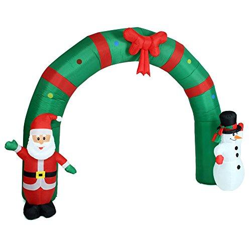BAKAJI Arco Gonfiabile Gigante Natalizio Altezza 240 cm con Babbo Natale e Pupazzo di Neve con Kit Fissaggio per Esterno Illuminazione LED Protezione IP44 Decorazione Natalizia