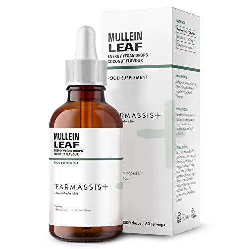Farmassis+ Mullein Leaf Liquid Supplement Drops - Coconut Flavour - 60ml - 6000mg - Vegan Tincture - 60 Servings