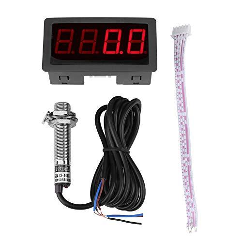 4 Digitaler LED-Tachometer, Drehzahlmesser-Drehzahlmesser + Hall-Näherungsschalter-Sensor NPN (RED)