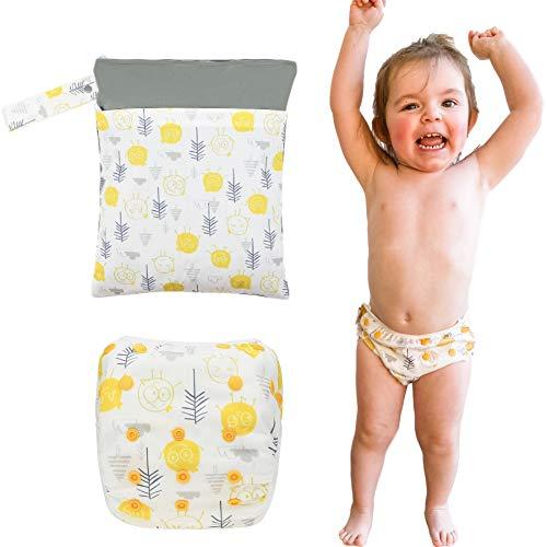 Herbruikbare Baby Swim Nappy & Wet Bag Set van Pasgeboren tot 3 jaar. Eco-vriendelijke peuter zwemluier. yellow and grey