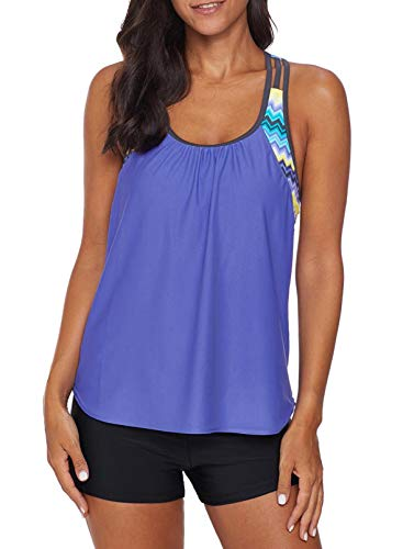 Dearlove Women's Blouson Striped T-Back Push Up Tankini Top Halter Padded Slimming Swimsuit Sporty Swimwear Sky Blue Plus Size XL 14 16