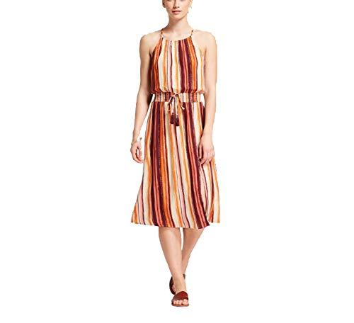 Xhilaration Women's Strappy Striped High Neck Maxi Dress w/Slit - Ivory/Burgundy- (XX-Large)