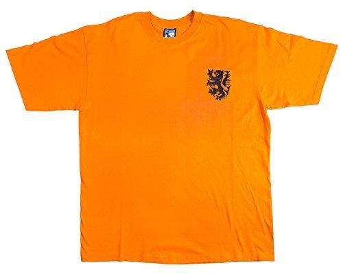 The Old School Shop rétro Olanda 1960s Calcio Nuova t-Shirt Taglie S-XXL Logo Ricamato - Arancione, XX-Large