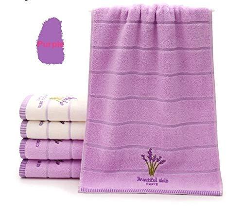 Yebeile - Juego de toallas de baño de algodón bordado lavanda suave aromaterapia, 34 x 74 cm, juego de toallas de baño (34 x 74 cm, 1 unidad)