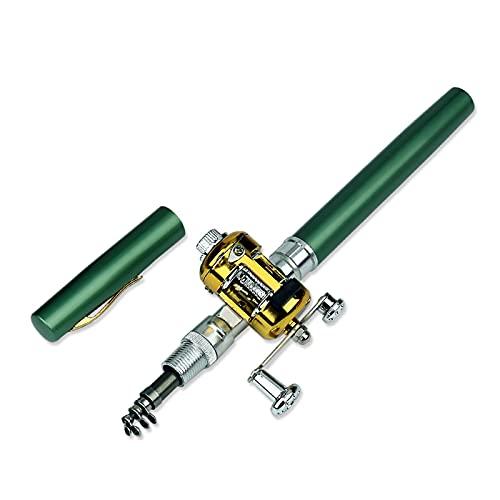 ZLHW Rueda de Carrete de caña de Pescar doblada con Forma de bolígrafo, Combos de caña de Pescar y Carrete con Forma de bolígrafo, Mini caña de Pescar telescópica de Bolsillo portátil, caña de Pescar