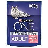 Purina One Nourriture sèche pour chat adulte saumon et céréales complètes 800g (lot de 4) (3.2kg)