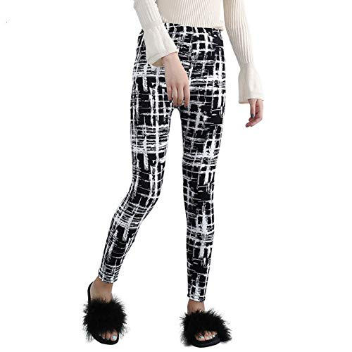 GDRFHJZ Lente Vrouwen Leggings Abstract Plaid Gedrukt Leggings Dunne Schuurstoffen Legging Potlood Broek Hoge Stretch Leggings