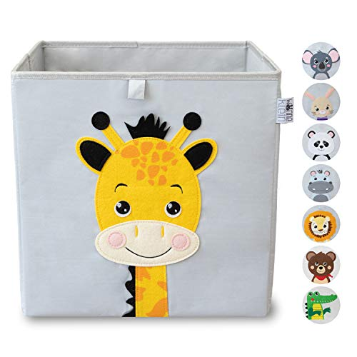 wonneklein Aufbewahrungsbox Kinder I Spielzeugkiste Kinderzimmer I Spielzeug Box (33x33x33 cm) zur Aufbewahrung I Ordnungsbox I Kallax Box I grau mit Tier Motiv als Deko (Greta Giraffe)