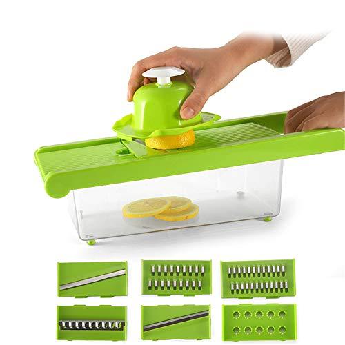 XIONGGG - Rallador de verduras, con 6 cuchillas intercambiables, con protector de mano y recipiente de almacenamiento de alimentos