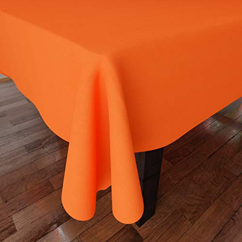 Encasa Homes Plain Colour Cotton Oxford Tablecloth for 6 to 8 Seater Large Dining Table - 142 x 182 cm, Orange - Cotton Canvas Fabric, Mercerised, Washable, Rectangular for Home & Restaurant