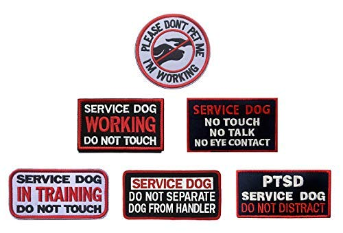 Antrix Bundle 6 Pieces Service Dog Please Dont PET ME Im Working Service Dog Working in Training Do Not Touch Full Embroidered Badge Emblem Patch for Dogs and Pets Harness Vest Clothes