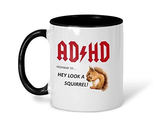 Divertida taza de café con ADHD, taza de café de ardilla, taza de café para adultos con ADHD, taza de café divertida, taza de humor de oficina, taza ACDC, taza de café de cerámica de 325 ml