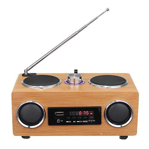 C- Retro Vintage Radio Super Bass FM Radio Bambus Multimedia Lautsprecher Klassischer Empfänger USB Mit MP3 Player Fernbedienung für Zuhause, Büro, Reisen
