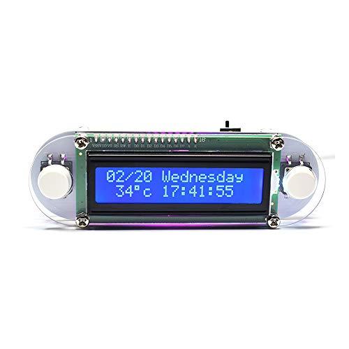 KKmoon LED digitale wekker tafelklok kaarslichteffect LCD1602 elektronische digitale klok DIY klok set