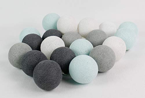 Cotton Ball Lights Blau-Grau 20 LED Lichterkette mit USB Anschluss, Baumwolle, weiß - licht-türkis - hellgrau - mittelgrau