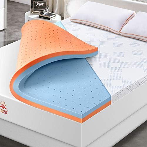 Maxzzz 3 Inch Mattress Topper Full Gel Infused Memory Foam Mattress Topper Copper Dual Side product image