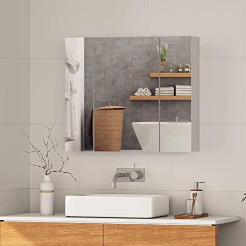 DICTAC Armario Baño Espejo, 3-Puerta, con Baldas Regulables, Mueble Moderno con Espejo de Baño, 70 x 60 x 15 cm, Blanco, Conciso, Fácil de Limpiar