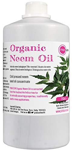 PINK SUN Neemöl Bio Kaltgepresst Pur 250ml Neem Öl für Pflanzen Hunde Pferde Haare und Haut Rein Nicht Raffiniert Konzentrat Pure Organic Neem Oil