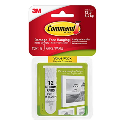 Command 17204-12ES 07248000796 CMND PIC HANG STRIP VP, 12 Pairs, White, Picture