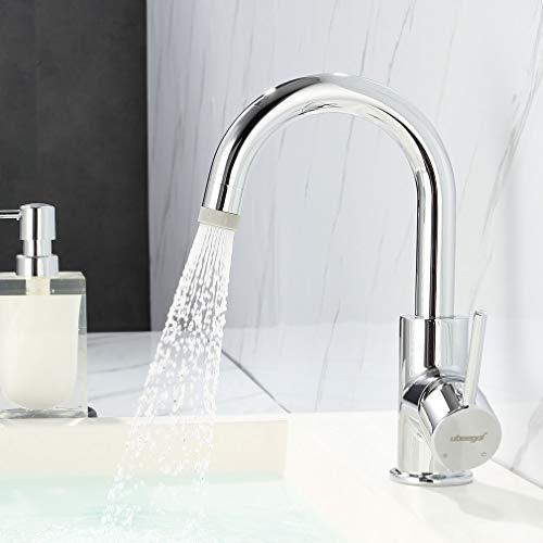 ubeegol Waschtischarmatur Niederdruck Armatur Bad Wasserhahn mit 2 Strahlarten Badarmatur 360° drehbar Mischbatterie für Kaltwasser und einen Wasserboiler, Messing Chrom