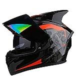 BUETR Off-road moto exterior bicicleta eléctrica casco de equitación casco deportivo protector-naranja rojo potente (colorido) _2XL