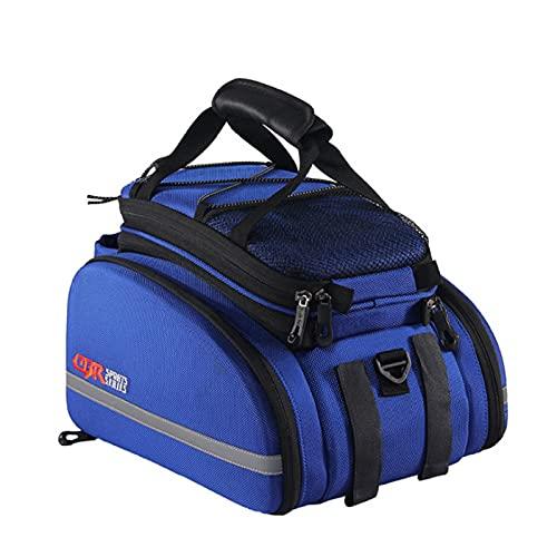 Bolsa Asiento Trasero de Bicicleta, Extensible Bolsa Portaequipajes de Bicicleta de Gran Capacidad Impermeable,Blue