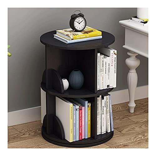 TEAYASON Estantería organizadora de libros con estantes giratorios de 360 grados, gran espacio para libros de oficina, estantería de 27,5 x 19,6 cm (color teca), nogal negro