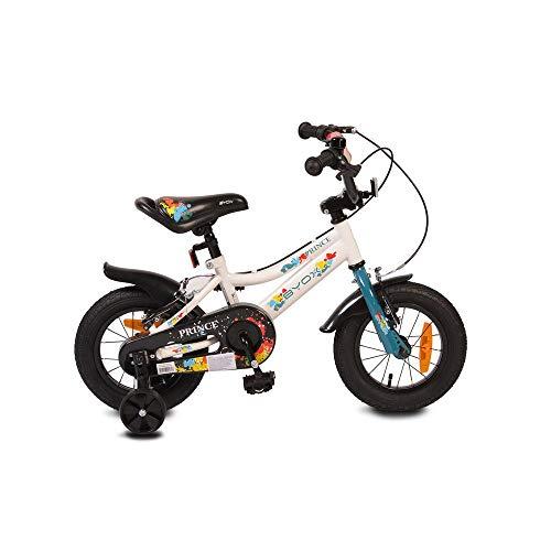Byox Kinderfahrrad 12 Zoll Prince, sportliches Design, Stützräder, Kettenschutz, Farbe:weiß
