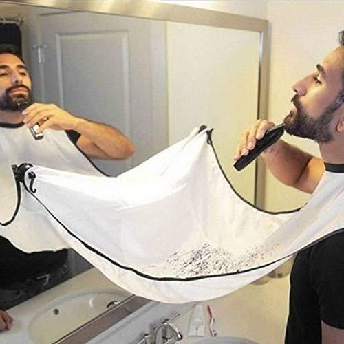 Ideapark Bartschürze, Bart Schürze für Bartgestaltung, Sammel Tuch für Haare, Badezimmer Pflege Schürze Sammel für Haare Bart Lätzchen für Geschenk der Männer Bartlatz für Rasur (Weiß)