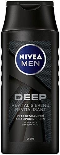 Nivea Men Deep Pflegeshampoo im 6er Pack (6 x 250 ml), revitalisierendes Haarshampoo mit Aktivkohle für den täglichen Gebrauch, Haarpflege entfernt Fette und Styling-Rückstände