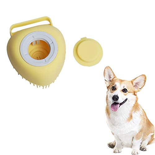 Pet Shampoo Brush,Dog Silicone Rubber Bathing Brush Pet Dog Bath Brush Comb SPA Shampoo Massage Brush Shower Hair Removal Comb For Dogs Cats Cleaning Grooming Tool (yellow)