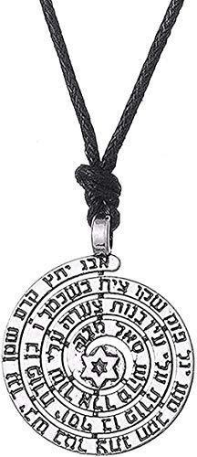 LBBYLFFF Collar con Nombres sagrados de Plata Colgante de Estrella tibetana Colgante Amuleto Collar esterlina Hombres joyería Religiosa niña niños Collar de niños