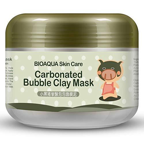 DELOVE BIOAQUA Kawaii Black Pig Carbonated Bubble Clay Mask Invierno Limpieza Profunda Hidratante Cuidado de la Piel