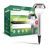 Signature Garden 6 Pack Solar Garden Lights - Super-Bright 15 Lumens - Premium Stainless Design;...